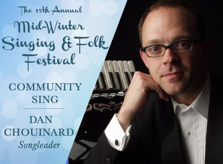 Dan Chouinard leads singing at The 15th Annual Mid-Winter Singing and Folk Festival